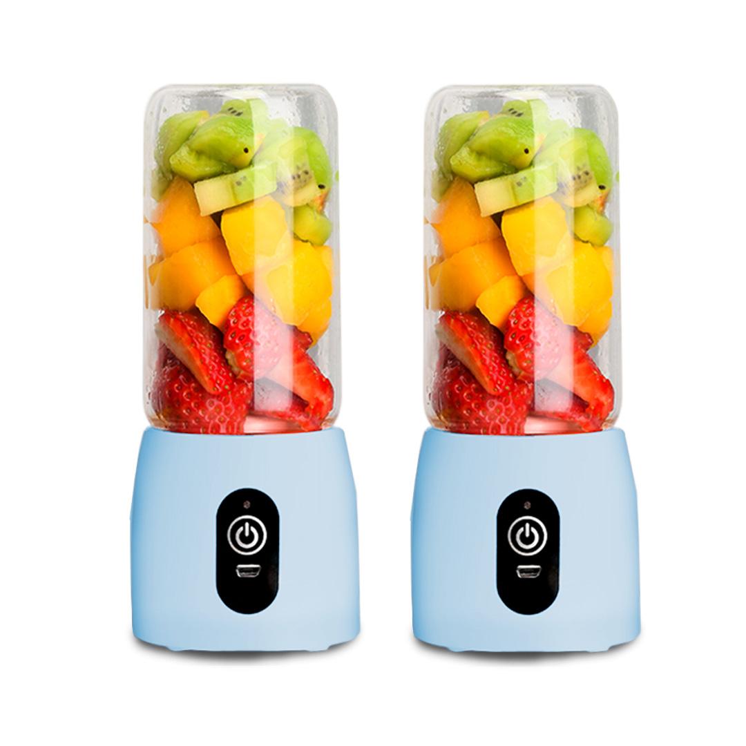 SOGA 2X Portable Mini USB Rechargeable Handheld Juice Extractor Fruit Mixer Juicer Blue