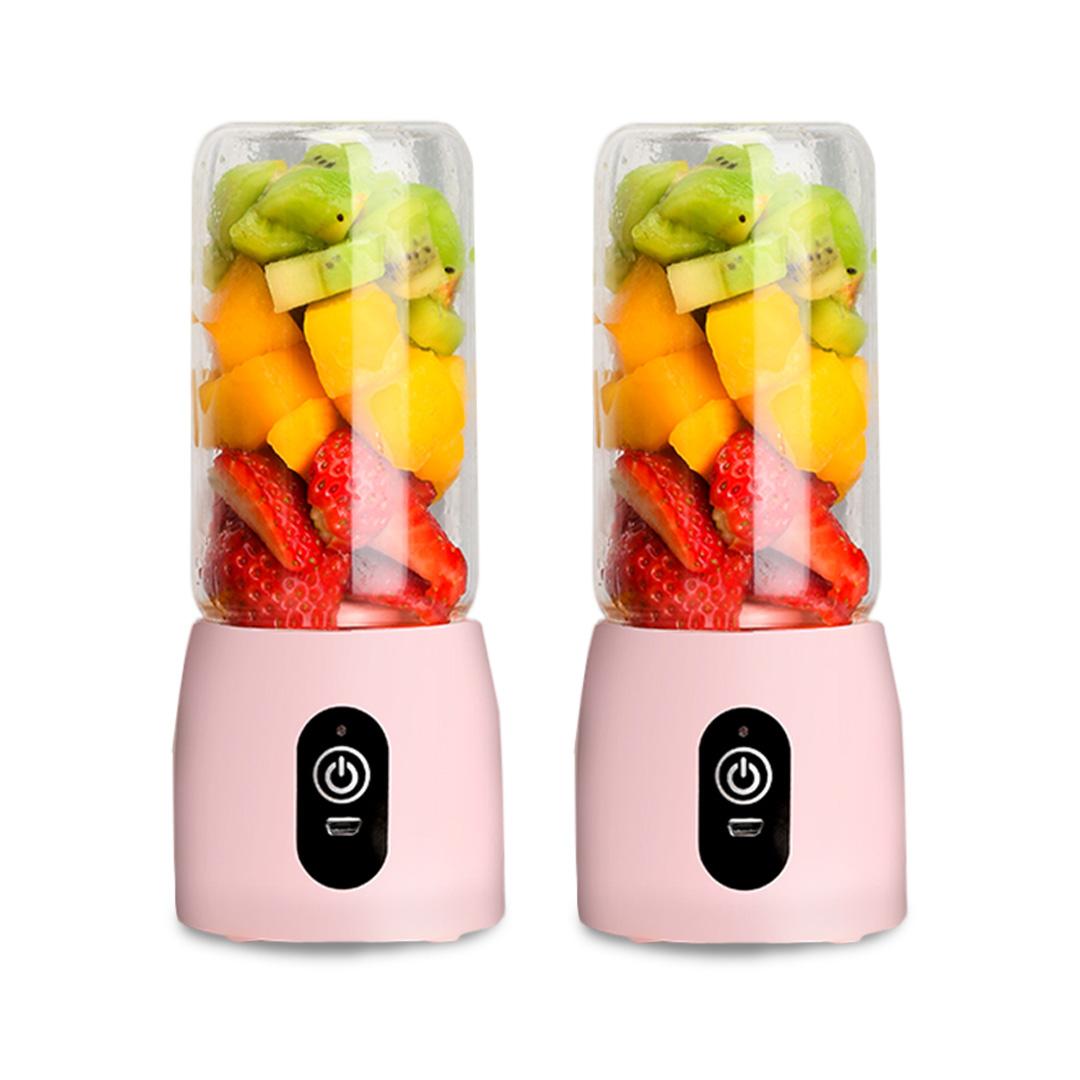 SOGA 2X Portable Mini USB Rechargeable Handheld Juice Extractor Fruit Mixer Juicer Pink