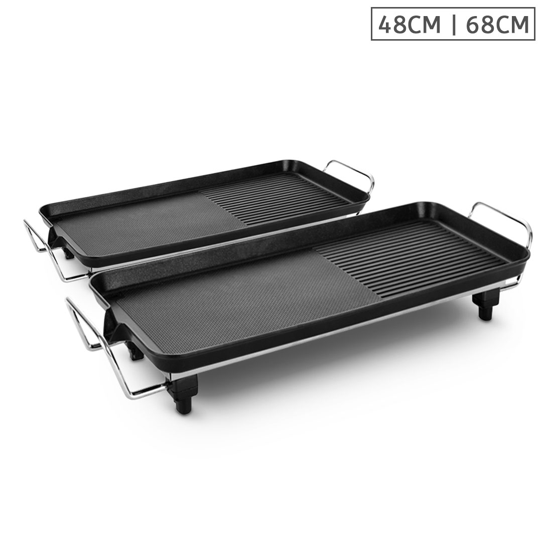SOGA 48cm 68cm Electric BBQ Grill Teppanyaki Tough Non-Stick Surface Hot Plate Kitchen Bundle