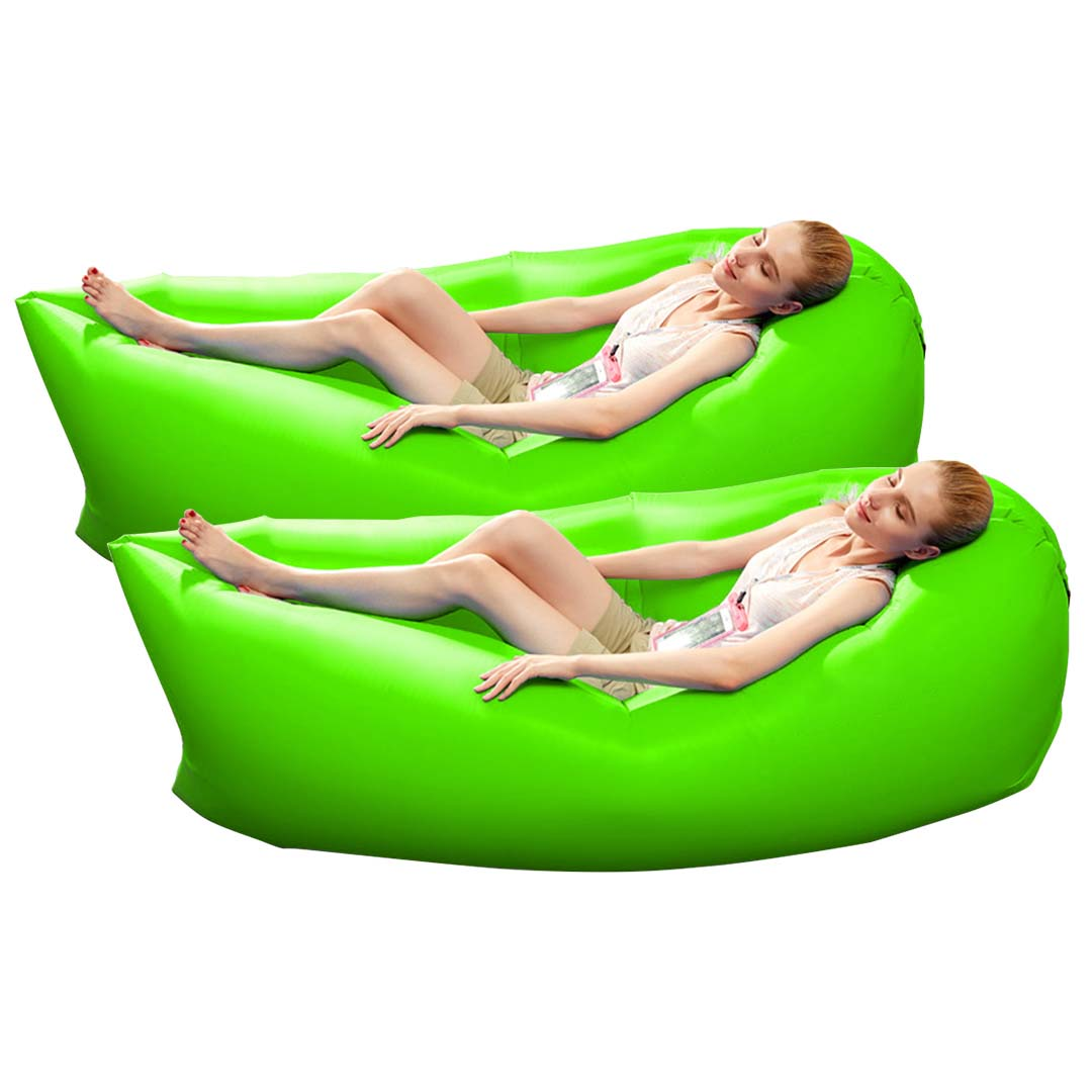 2X Fast Inflatable Sleeping Bag Lazy Air Sofa Green