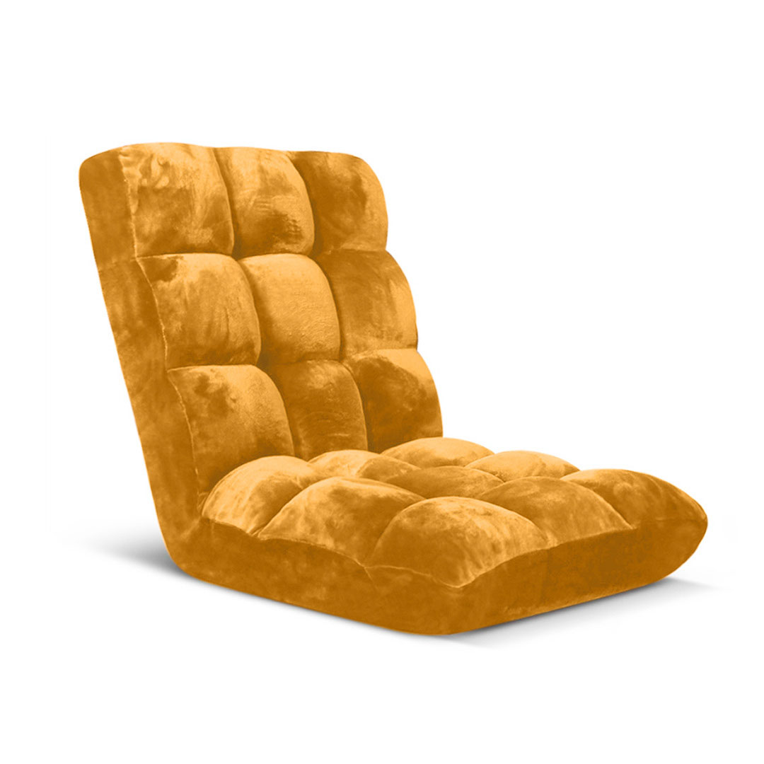 SOGA Floor Recliner Folding Lounge Sofa Futon Couch Folding Chair Cushion Apricot