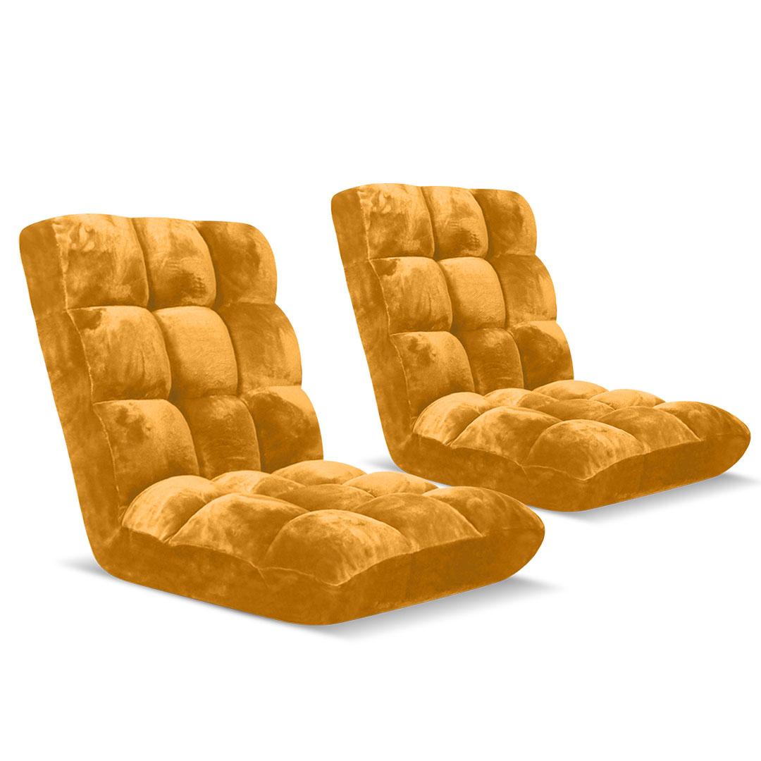 SOGA Floor Recliner Folding Lounge Sofa Futon Couch Folding Chair Cushion Apricot x2