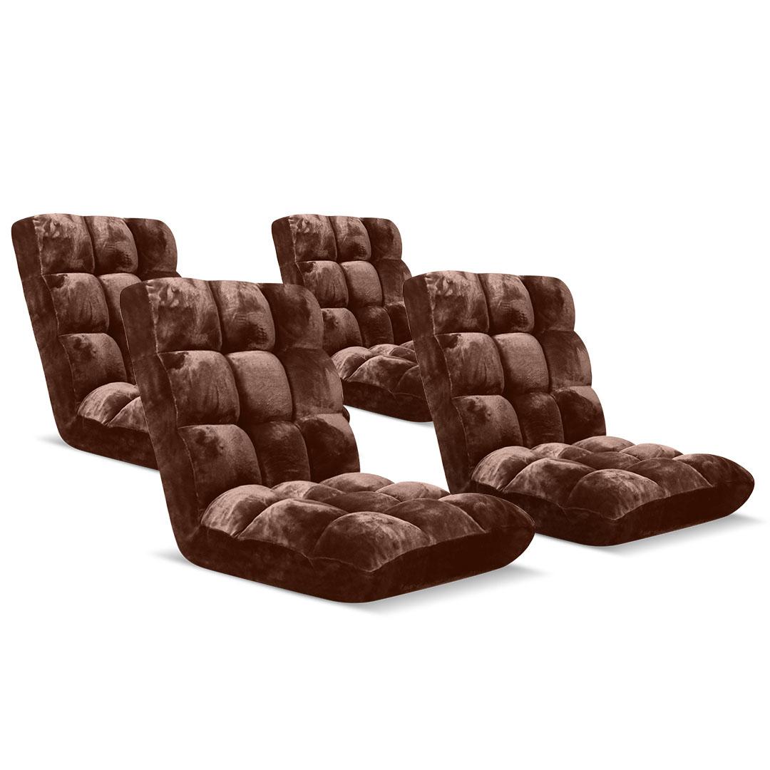 SOGA Floor Recliner Folding Lounge Sofa Futon Couch Folding Chair Cushion Coffee x4
