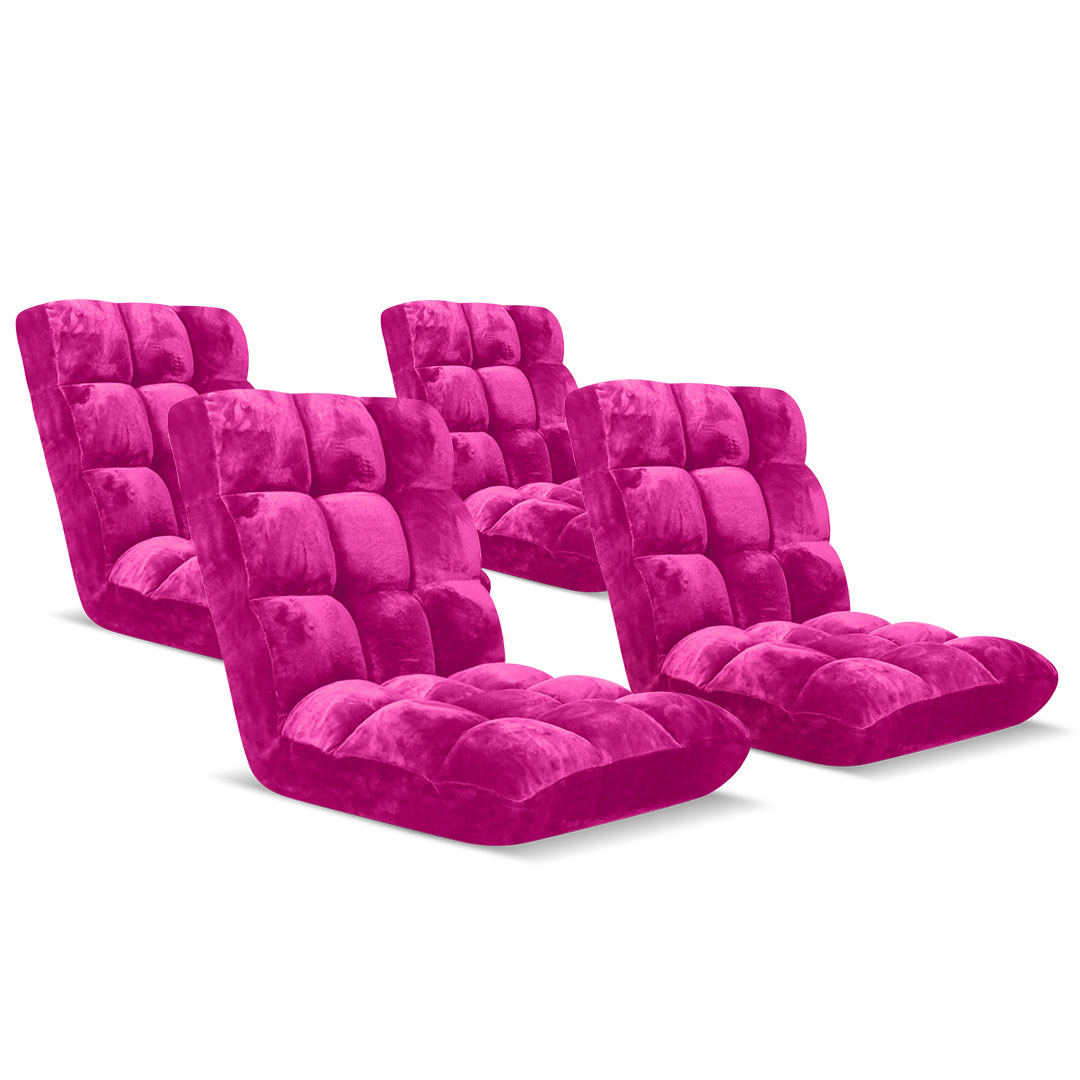 SOGA Floor Recliner Folding Lounge Sofa Futon Couch Folding Chair Cushion Pink x4