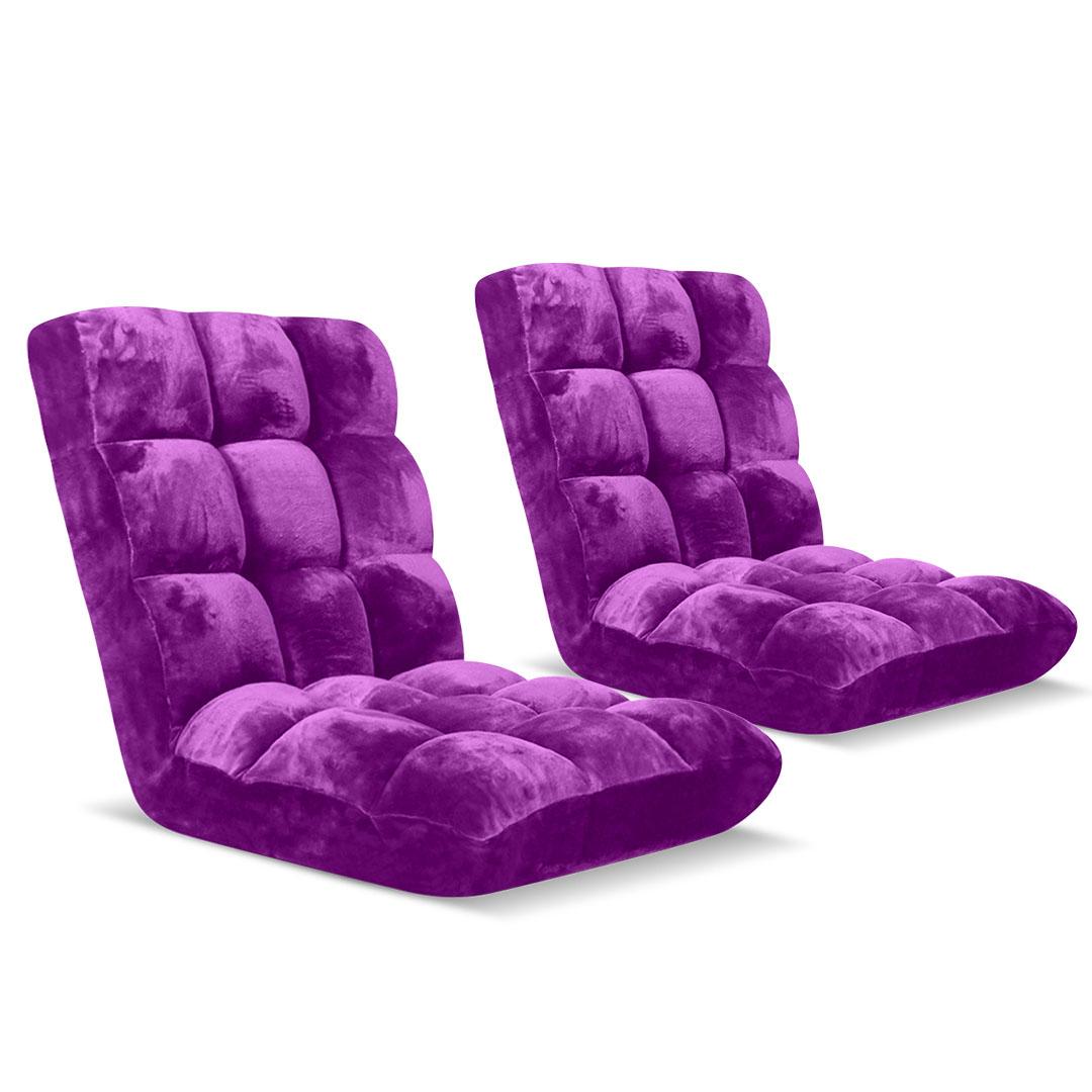 SOGA Floor Recliner Folding Lounge Sofa Futon Couch Folding Chair Cushion Purple x2