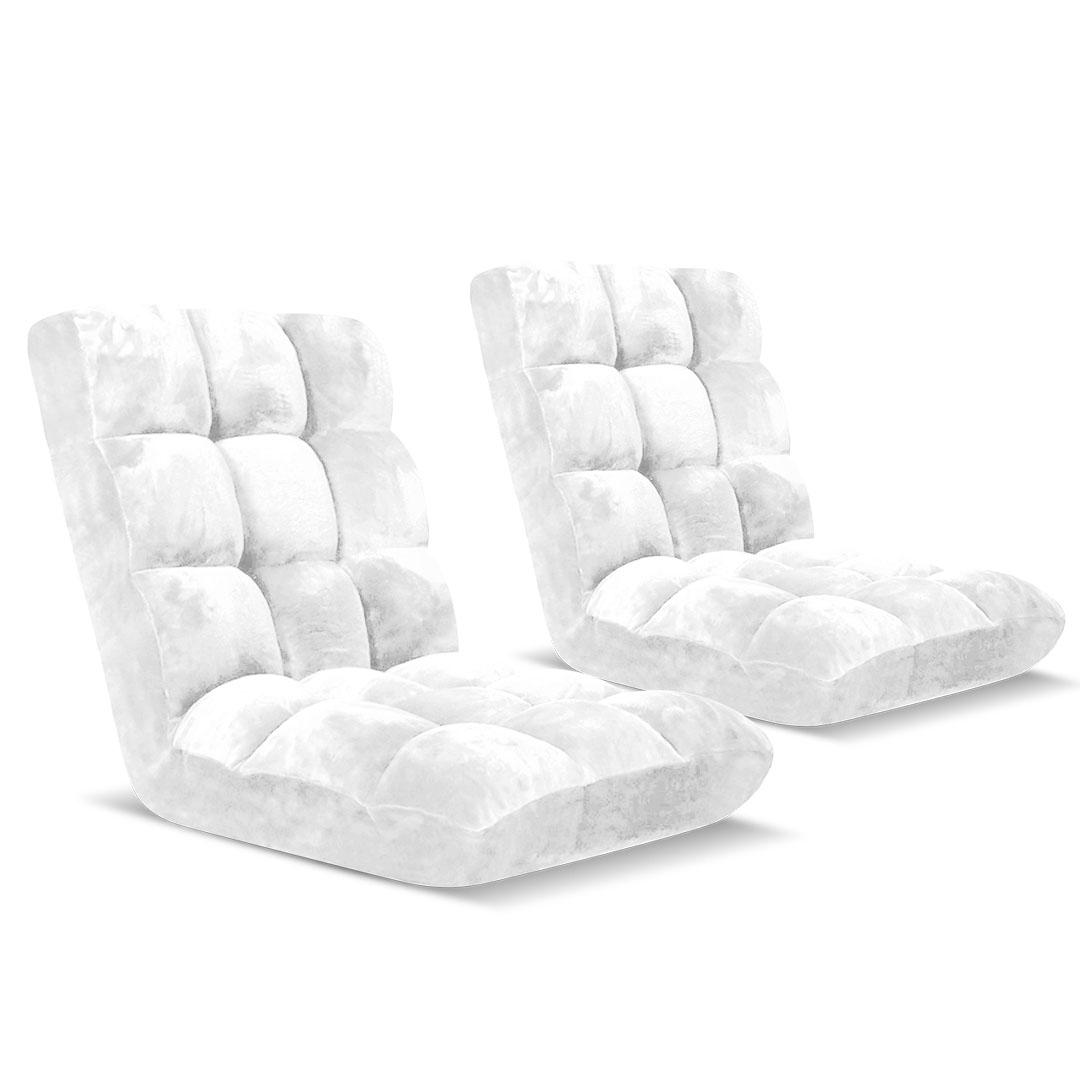 SOGA Floor Recliner Folding Lounge Sofa Futon Couch Folding Chair Cushion White x2