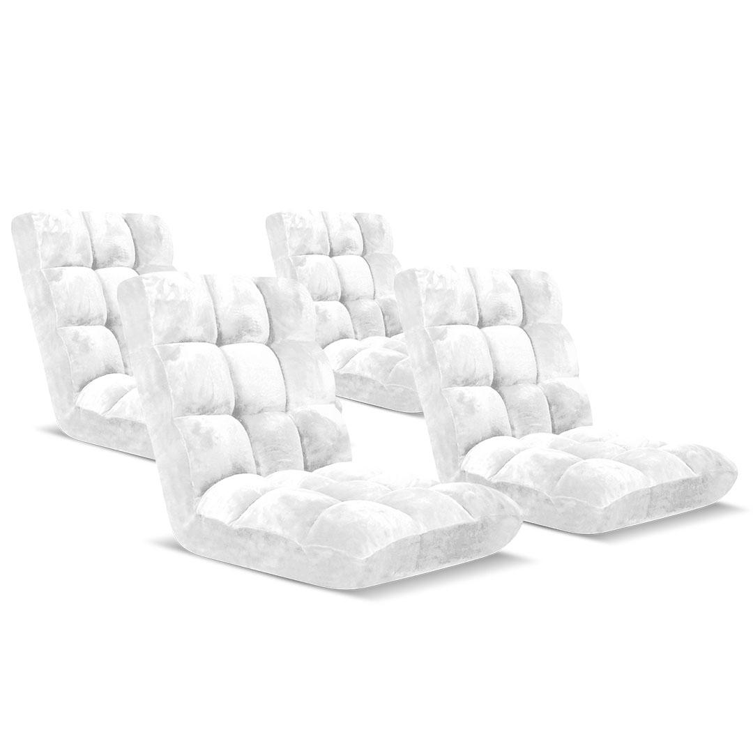 SOGA Floor Recliner Folding Lounge Sofa Futon Couch Folding Chair Cushion White x4