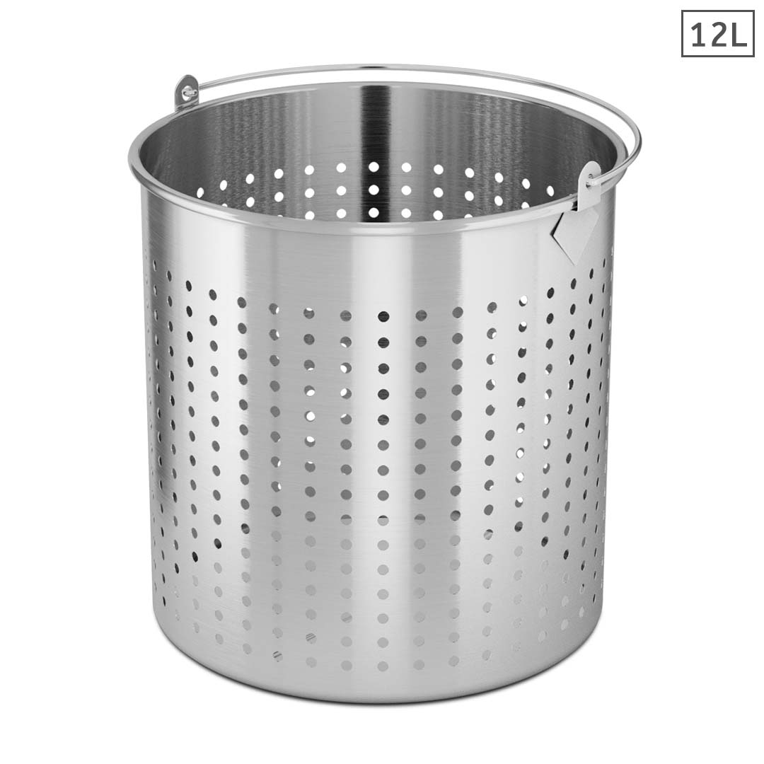 SOGA 12L 18/10 Stainless Steel Perforated Stockpot Basket Pasta Strainer with Handle