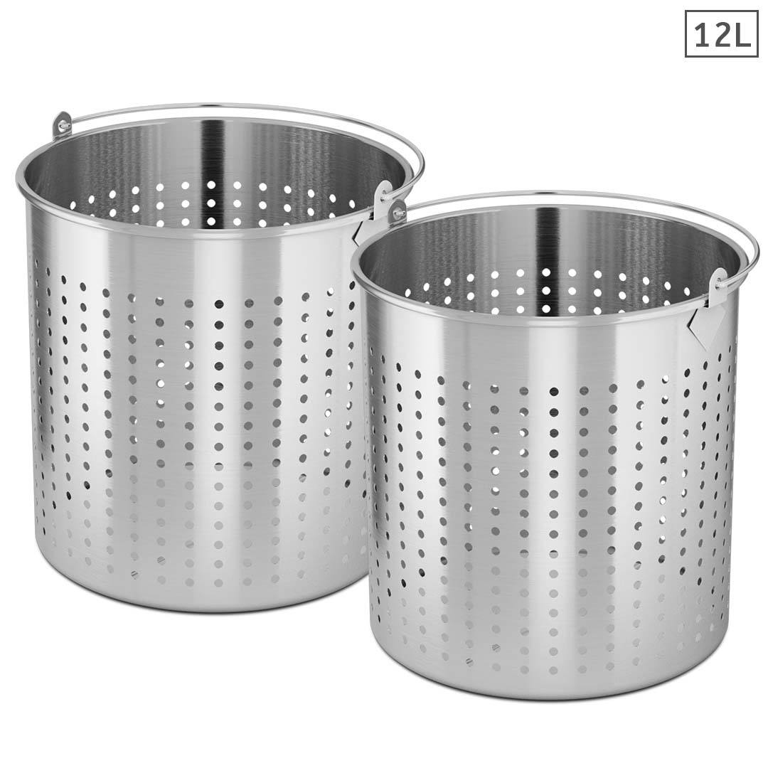 SOGA 2X 12L 18/10 Stainless Steel Perforated Stockpot Basket Pasta Strainer with Handle