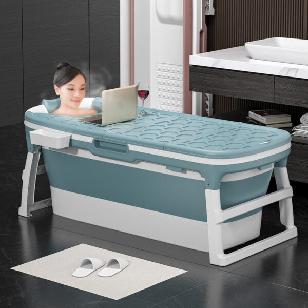 Xiaoshutong 138/117CM Portable Folding Adult Bathtub Surround Lock Temperature Anti-slip Isolation Layer with Enlarged Space Design Sauna for Bathroom