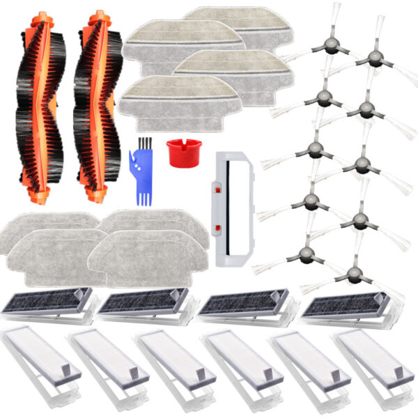 33pcs Replacements for Mijia STYTJO2YM Viomi V2 V2 Pro V3 Vacuum Cleaner Parts Main Brushes*2 Main Brush Cover*1 Side Brushes*10 HEPA Filters*6 Activated Carbons*4 Cleaning Tools*2 Wet Mop Clothes*4 Wet and Dry Mop Clothes*4 [Non-Original]