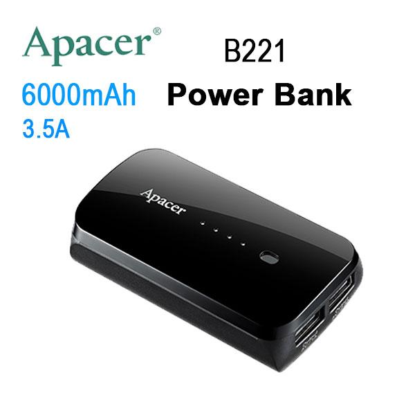 APACER Mobile Power Bank B221 6000mAh Black RP