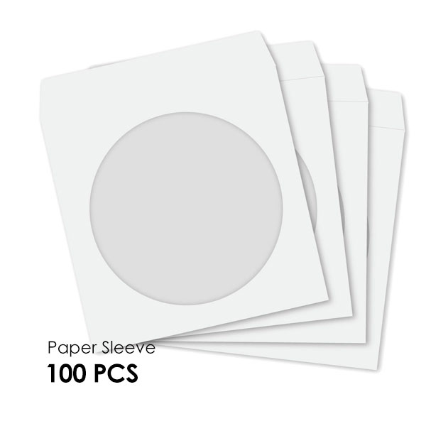 CD-DVD Paper Sleeve with Windows Hold 1 Disc  (100PCS/Pack)