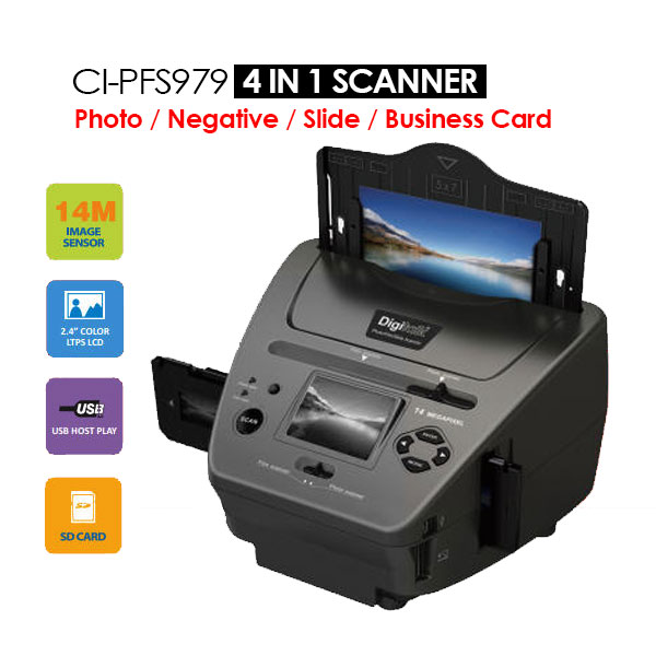 4-IN-1 Combo 14MP Photo/Film/Slide/Business card Scanner (CI-PFS979)