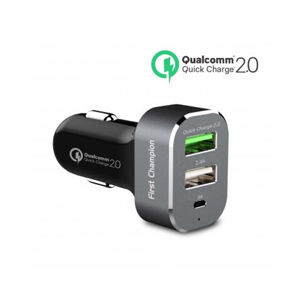 First Champion USB Car Charger - 3 USB Ports with QC 2.0 & Type-C