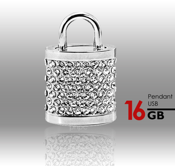 16GB Crystal Lock Pendant USB Flash Drive Pen Stick Memory (Silver)
