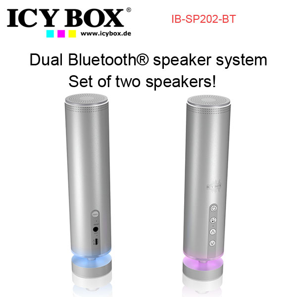 ICYBOX IB-SP202-BT Dual Bluetooth® speaker system - Set of two speakers!