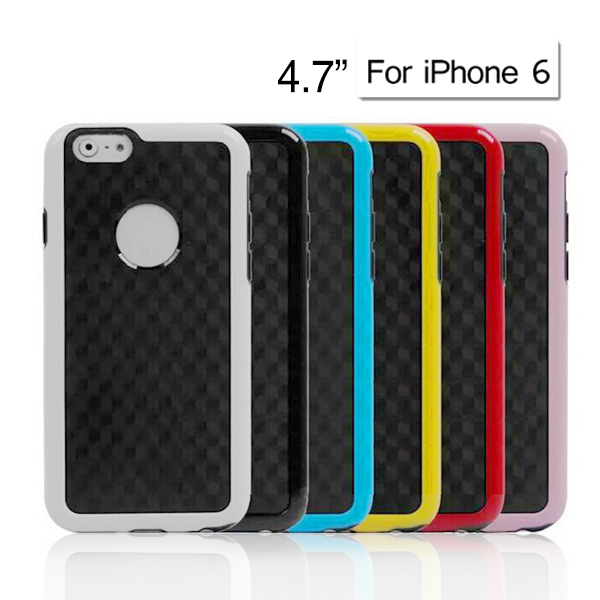Carbon Fiber Back Cover for 4.7 Inch Apple iPhone 6 (Black/White/Blue/Red/Pink/Yellow)