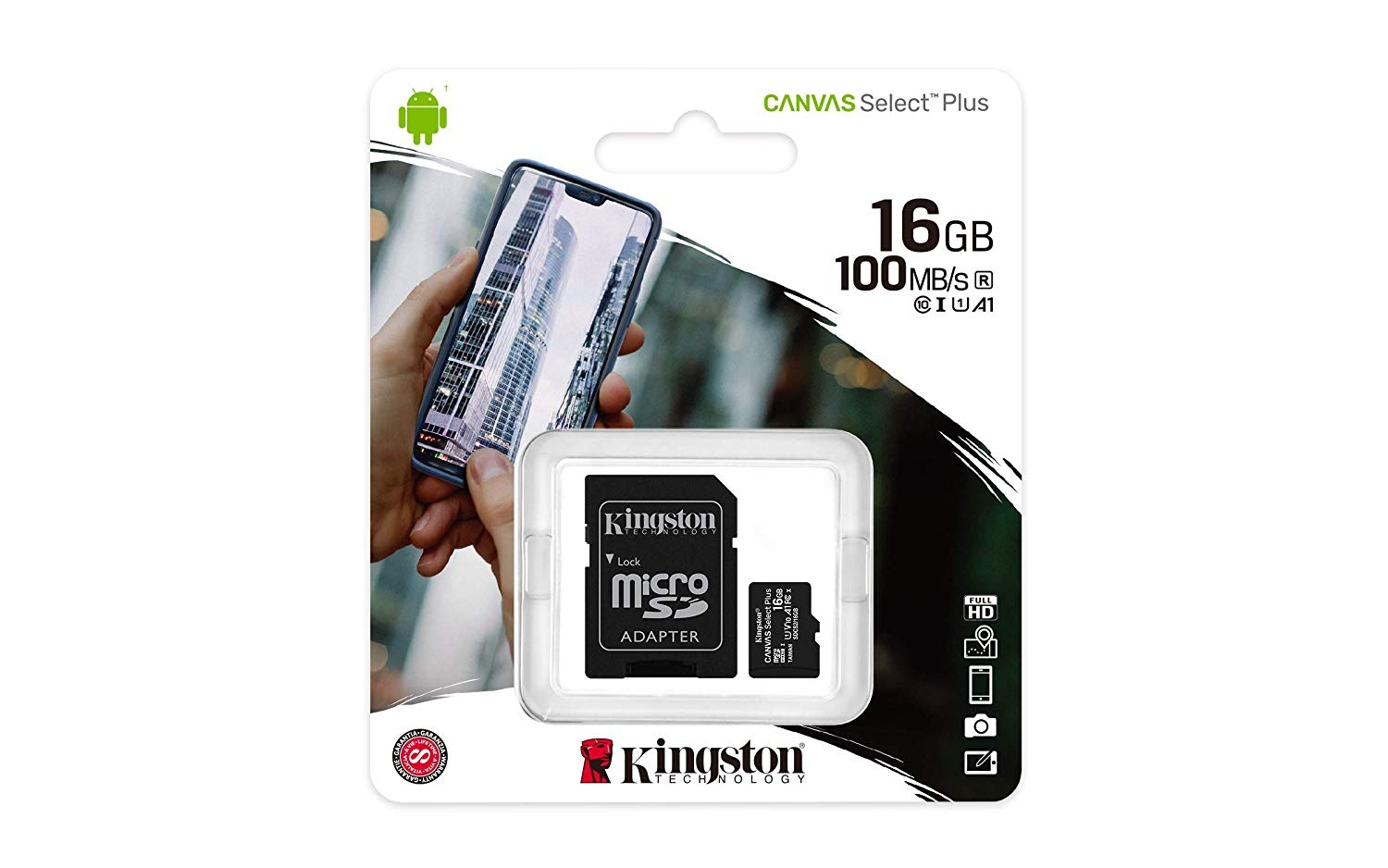 Kingston 16GB microSDHC Canvas Select 100R CL10 UHS-I Card + SD Adapter SDCS2/16GB