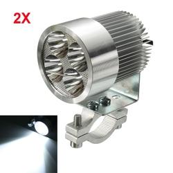 2pcs 12W 6000K LED Daylight Headlamp Spot Lightt Chrome For Motorcycle Scooter Car Truck Van 1