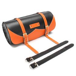 Motorcycle Side Saddle Bag PU Leather Round Saddle Tool Bag Universal 1