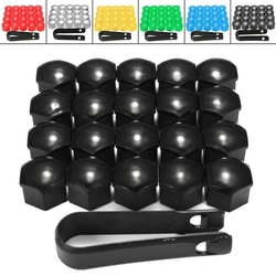 20pcs 17mm Wheel Nut Covers Bolt Caps Romoval Tool Key ABS Plastic for Audi 1