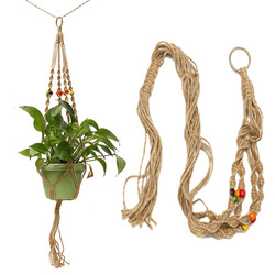 42 Inch Colour Bead Flower Pot Plant Hanger Macrame Jute Rope Garden Decorative Cord with Hook 1
