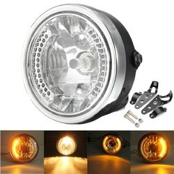 8 Inch Motorcycle Headlight With LED Turn Signal Indicators Bracket 1