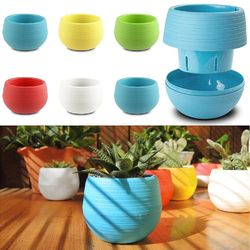 Honana HG-GP2 Colorful Cute Plant Flower Pot Mini Plastic Round Planter Garden Supplies 1