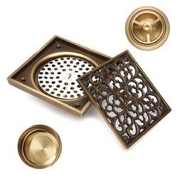 Antique Brass Square Floor Drain for Bathroom Kitchen w/ Strainer Grate 10X10X4.5cm 1