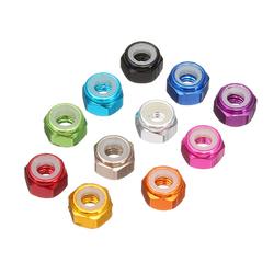 """Suleve?""""? M3AN1 10Pcs M3 Nut Self-locking Nylon Lock Hex Nut Aluminum Alloy Multicolor 1"""