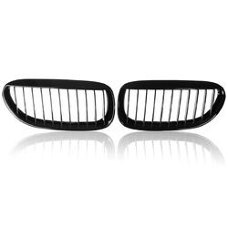 One Pair Car Gloss Black Front Grilles R&L For BMW E63/E64 2005-2010 M6 650Ci 645Ci 1
