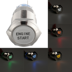 19mm Waterproof Car Engine Start Push Button Switch Stainless Steel Metal Lamp Momentary Latching LED Light 12V 1