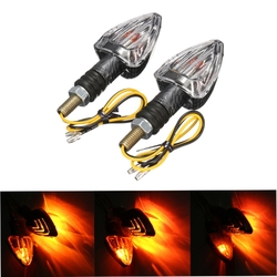 2X Motorcycle Turn Signal Lamp Motor Bike E-marked Carbon Mini Arrow Indicators Light Bulb 12V 1