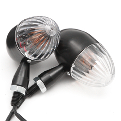 Pair 12V Motorcycle Metal Turn Signal Blinker Indicator Light Amber Lamp Universal 1