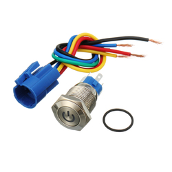 16mm 12V Metal Push Button Switch LED Latching On/Off Socket Plug Wire Push Switch 1