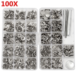 100 Sets 15mm Silver Snap Fasteners Popper Press Buttons with Installation Tool for Leather 1