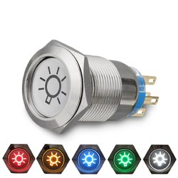 19mm 12V LED IP65 Push Button On Off Dome Light Switch 1