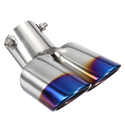 2.5 Inch Blue Car Burnt Dual Exhaust Pipes Polished Stainless Steel 1