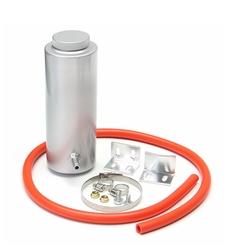 800ml Silver Cylinder Radiator Overflow Reservoir Aluminum Coolant Cooling Tank Kit 1