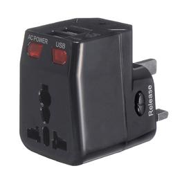125-250V US/UK/AU/EU Universal World Travel Adapter Plug Dual USB Port w/ Surge Protector 1