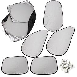 6PCS Silver Reflective Car Window UV Sunshade Sun Visor Cover Foldable 1