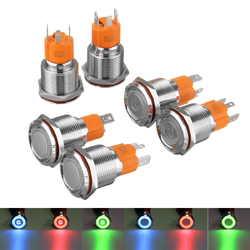 19mm 12V/24V LED On/Off Latching Push Button Switch Self-lock Heavy Duty Metal Switch Waterproof 1
