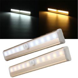 10 LED Cabinet Light PIR Human Body Motion Sensor Lamp Cupboard Closet LED Night Light LED Strip Light 6V 1