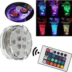 Waterproof 10 LED RGB Remote Control Night Light Submersible Christmas Party Vase Base Light 1