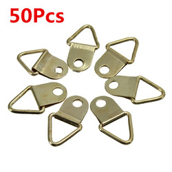 50Pcs Copper Triangle Photo Picture Frame Wall Mount Hook Hanger Ring 1