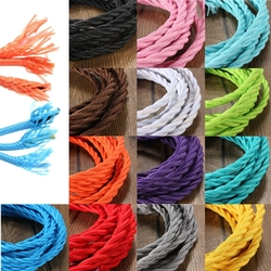 3m Vintage Colored DIY Twist Braided Fabric Flex Cable Wire Cord Electric Light Lamp 1