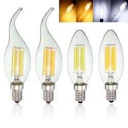 E14 6W Pure White Warm White COB Edison Filament Candle Light Bulb AC110V 1