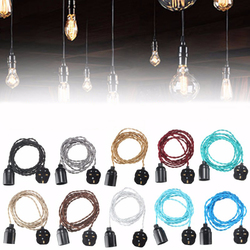 3M E27 Vintage Twisted Fabric Cable UK Plug In Pendant Lamp Light Bulb Holder Socket 1