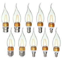 E27 E14 E12 B22 B15 2W 2LEDS LED Plastic&Aluminum Pure White Warm White Filament Light Bulb AC110V 1